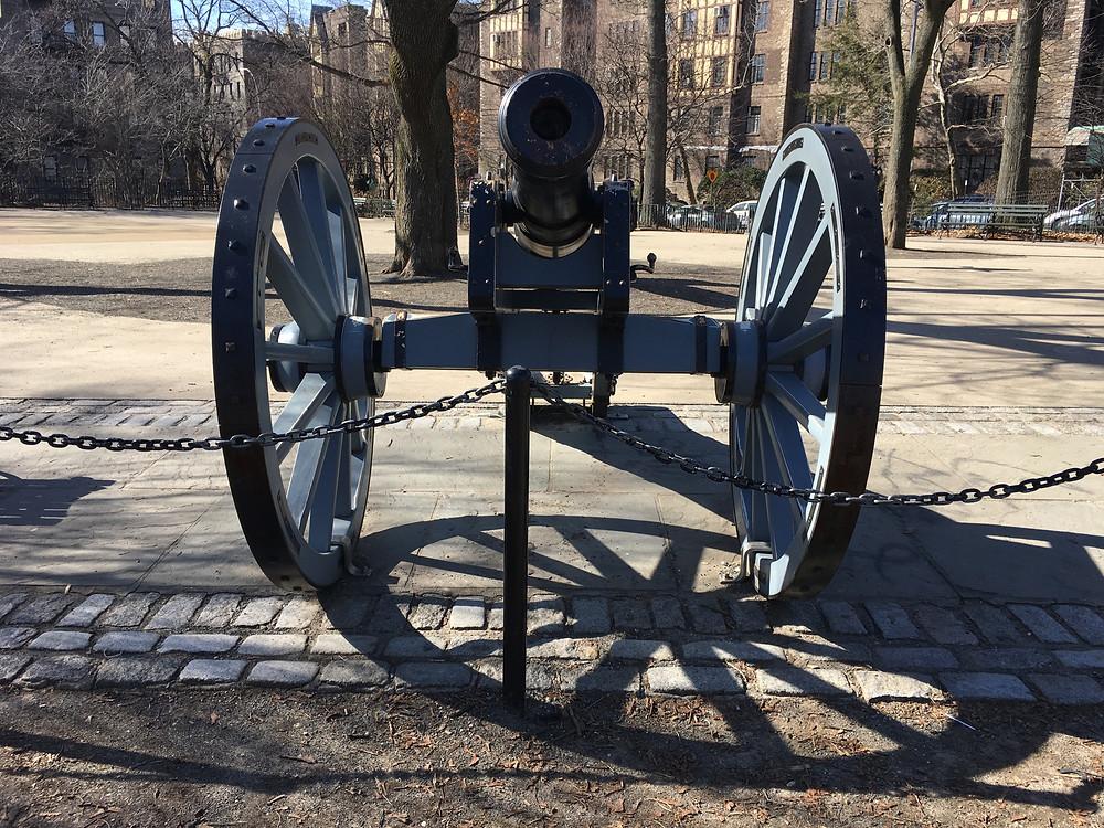A replica of a British cannon in Bennett Park