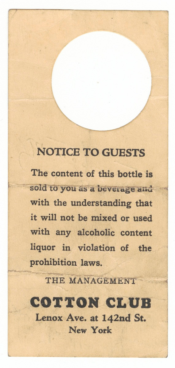 Harlem throwback: Bottle tag from the Cotton Club Collection of the Smithsonian National Museum of African American History and Culture, Gift of Vicki Gold Levi