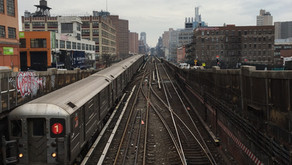 Uptown view: the 1 train in West Harlem