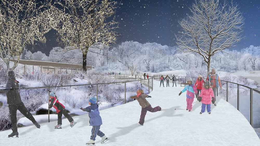 View of the skating ribbon at Central Park's Harlem Meer. Rendering courtesy of Susan T. Rodriguez Architecture.