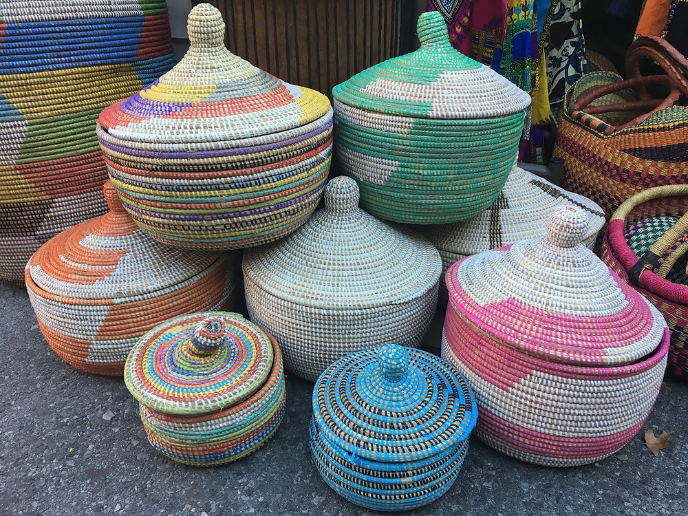 African baskets at the Malcolm Shabazz Harlem Market