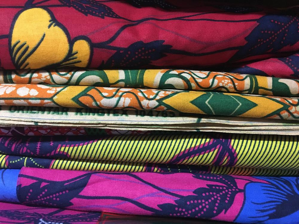 African fabrics at the Malcolm Shabazz Harlem Market