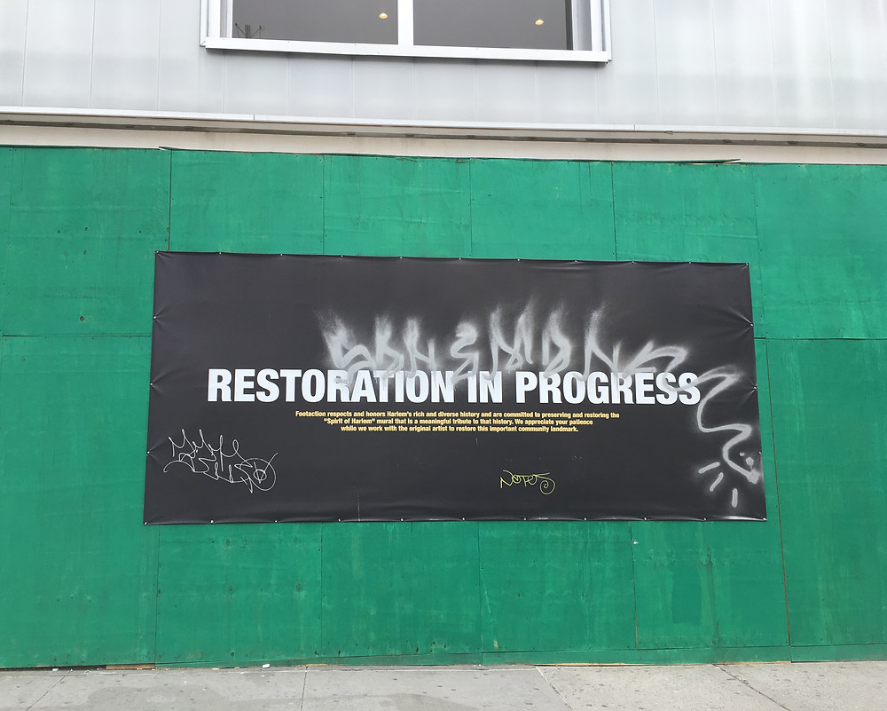 "Restoration on the ""Spirit of Harlem"" mural on 125th Street is still in progress"