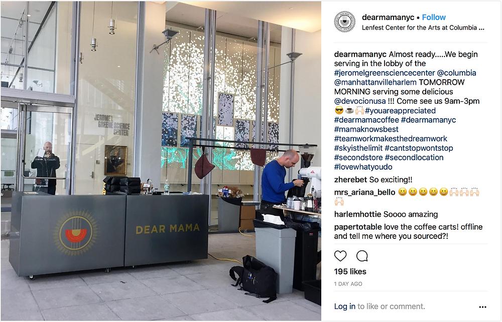 Dear Mama's new espresso bar on Columbia's Manhattanville campus