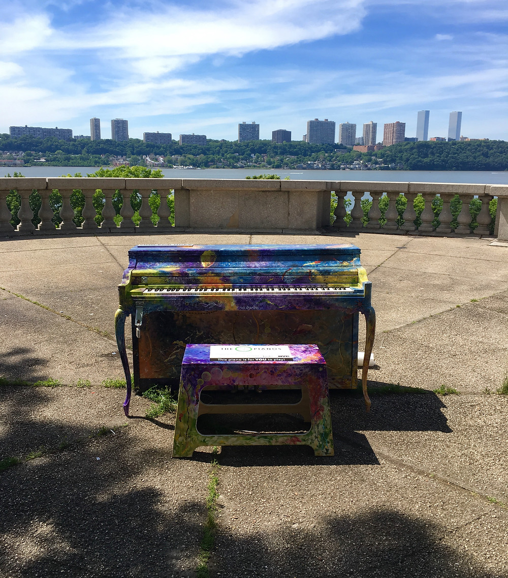This Sing for Hope piano in Riverside Park has killer views