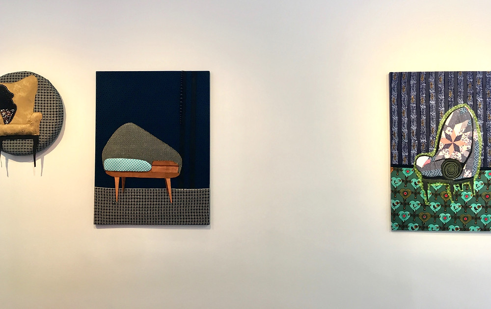 Elan Cadiz, whose eye-catching canvases depict chairs that evoke family members through her choice old fabrics