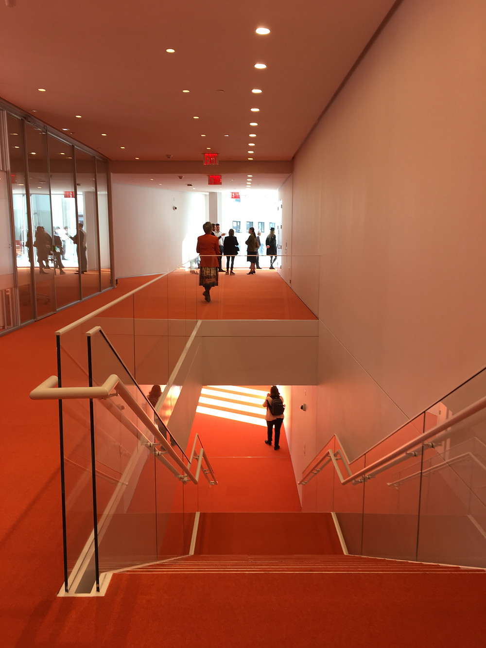 Orange carpets cover the second and third floors of Renzo Piano's Forum at Columbia University