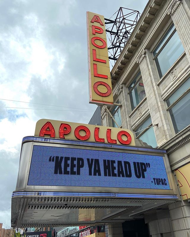 The Apollo marquee in Harlem during the coronavirus pandemic