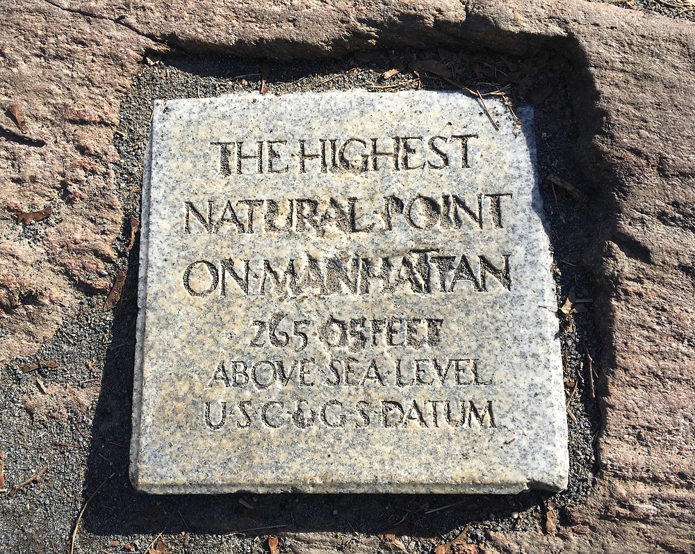 The highest natural point on Manhattan plaque
