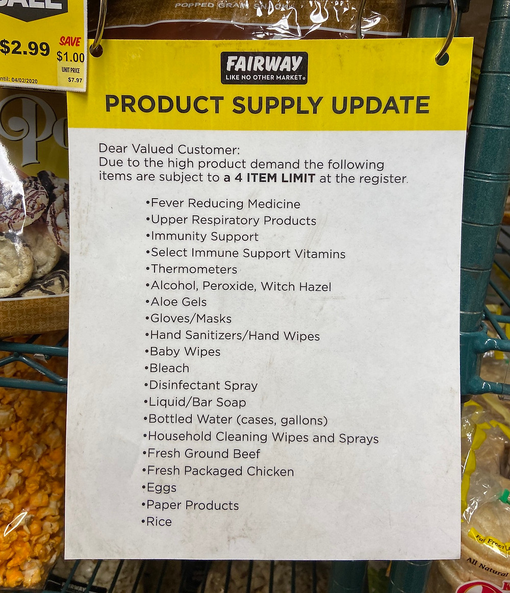 Products in limited supply at the Harlem Fairway during the coronavirus pandemic