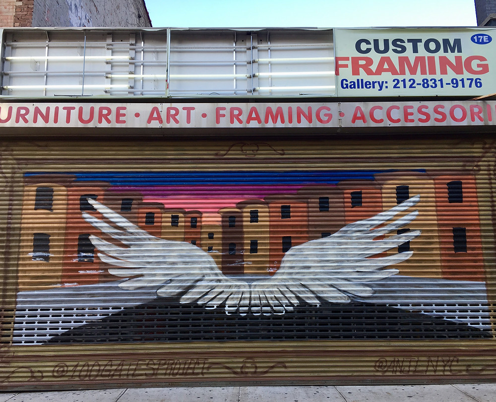 Artist Anjlnyc painted these wings for the 100 Gates Project