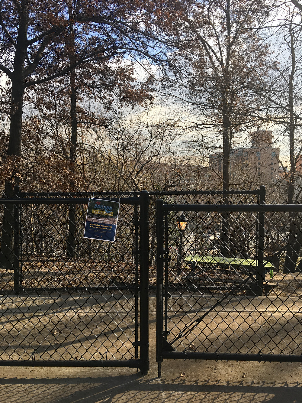 The new entrance at the St. Nicholas Park Dog Run
