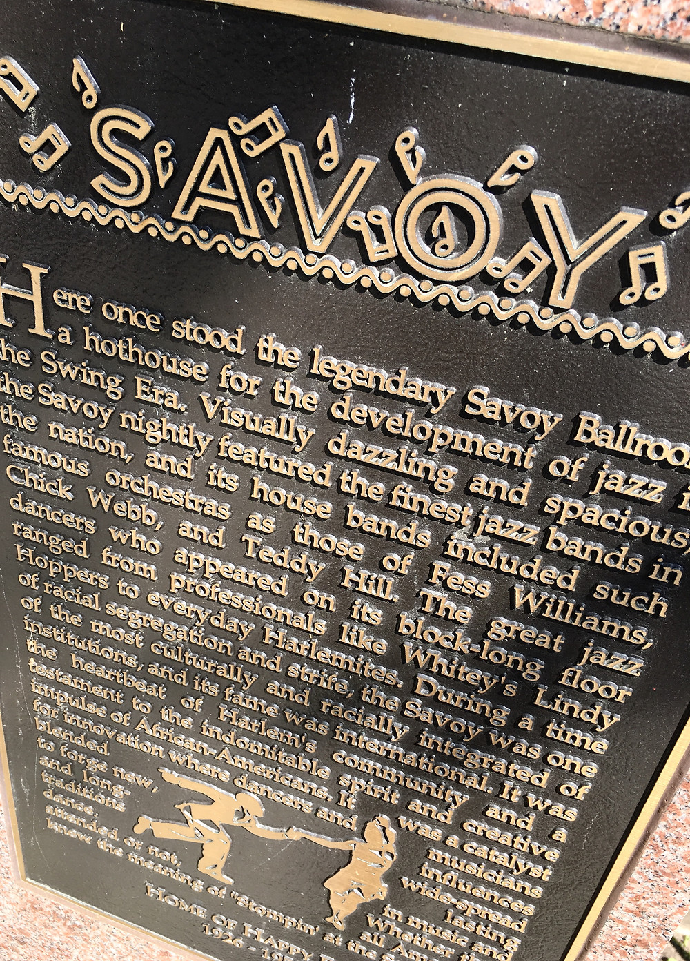 The plaque in Harlem commemorating the Savoy Ballroom