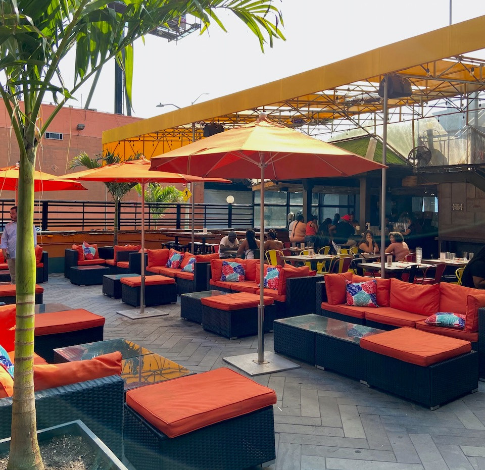 The large patio at Skinny's Cantina on the Hudson