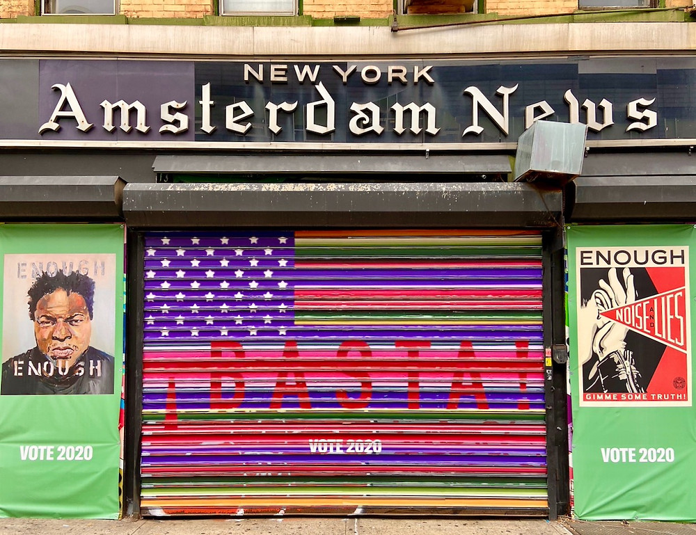 Election year street art in Harlem:  Amsterdam News building covered in art by Carrie Mae Weems, Beverly McIver, Amalia Mesa-Bains, Angelica Muro and Shepard Fairey