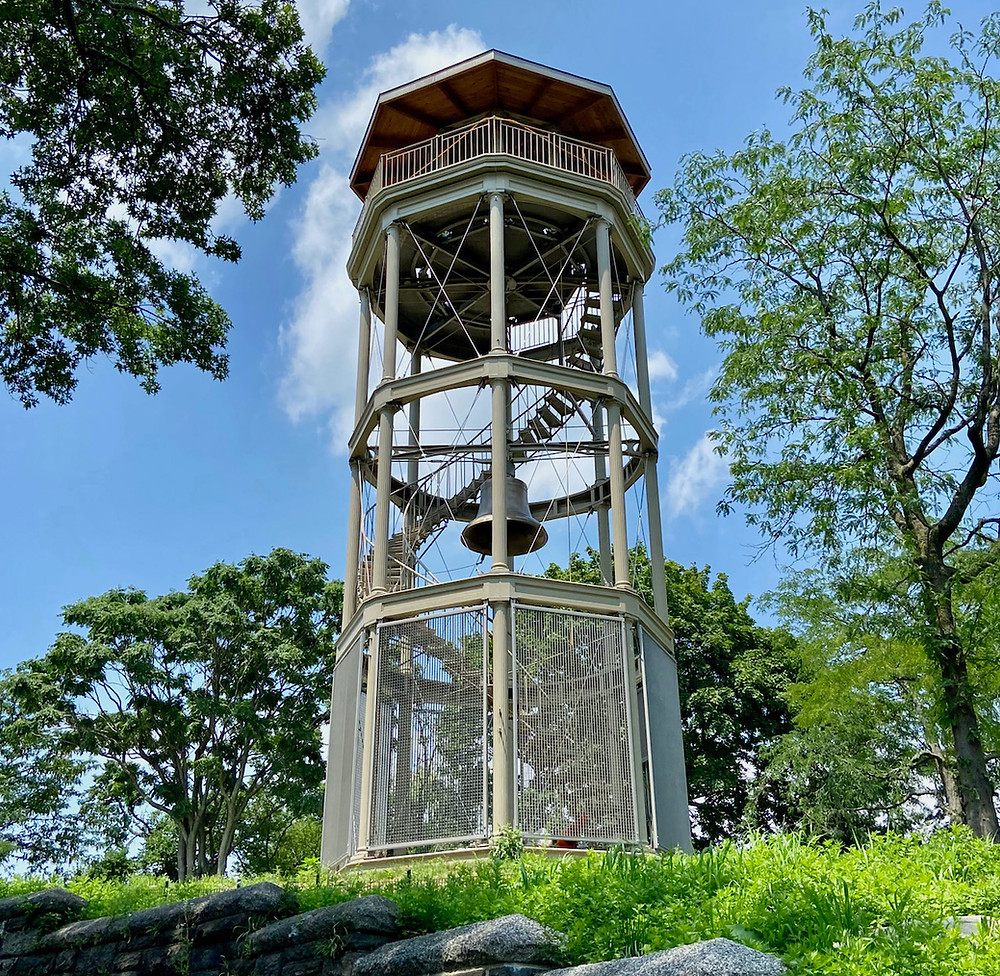 The renovated Harlem Fire Watchtower in Marcus Garvey Park