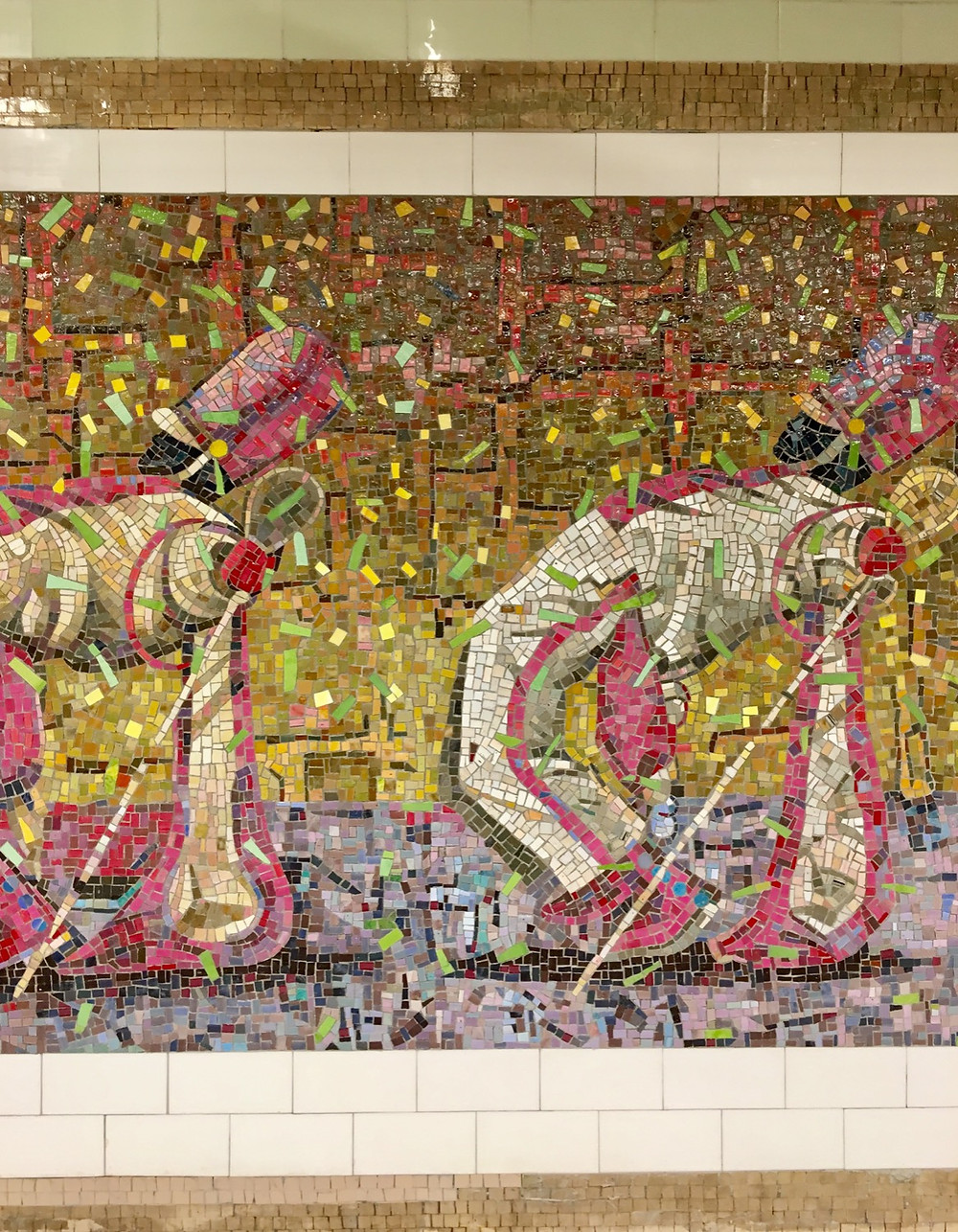 """Derek Fordjour's """"Parade"""" art inside the 145th Street station in Harlem"""