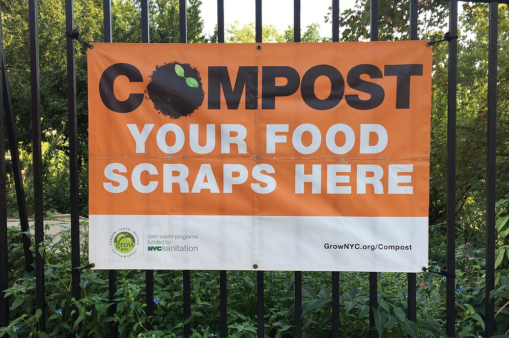 The composting sign on 145th Street
