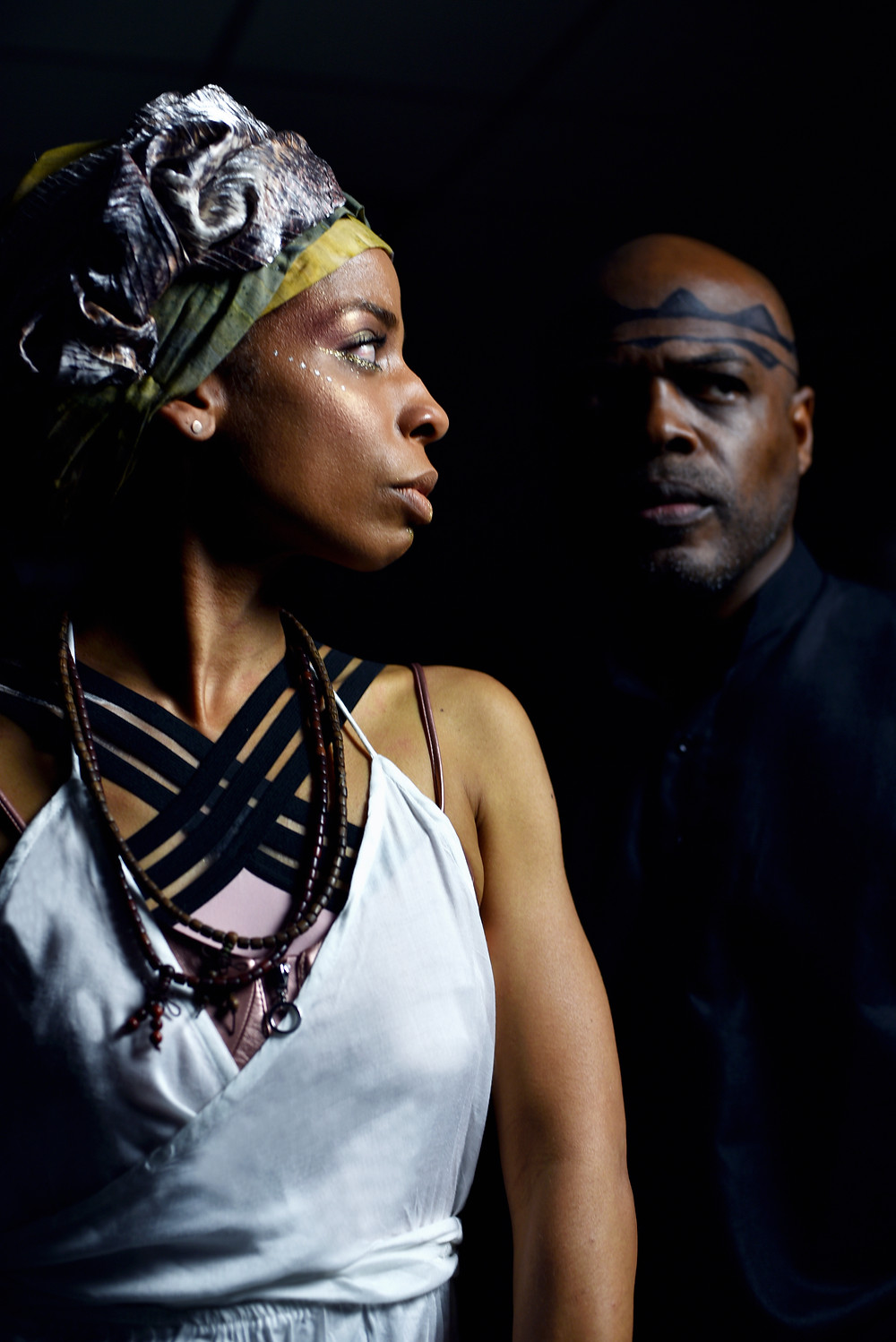 """Alexandria King stars as Antigone and Ty Jones as Creon in The Classical Theatre of Harlem's Afropunk-inspired """"Antigone."""" Photo by Sean McCoy"""