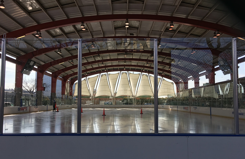 The ice rink at the Riverbank State Park