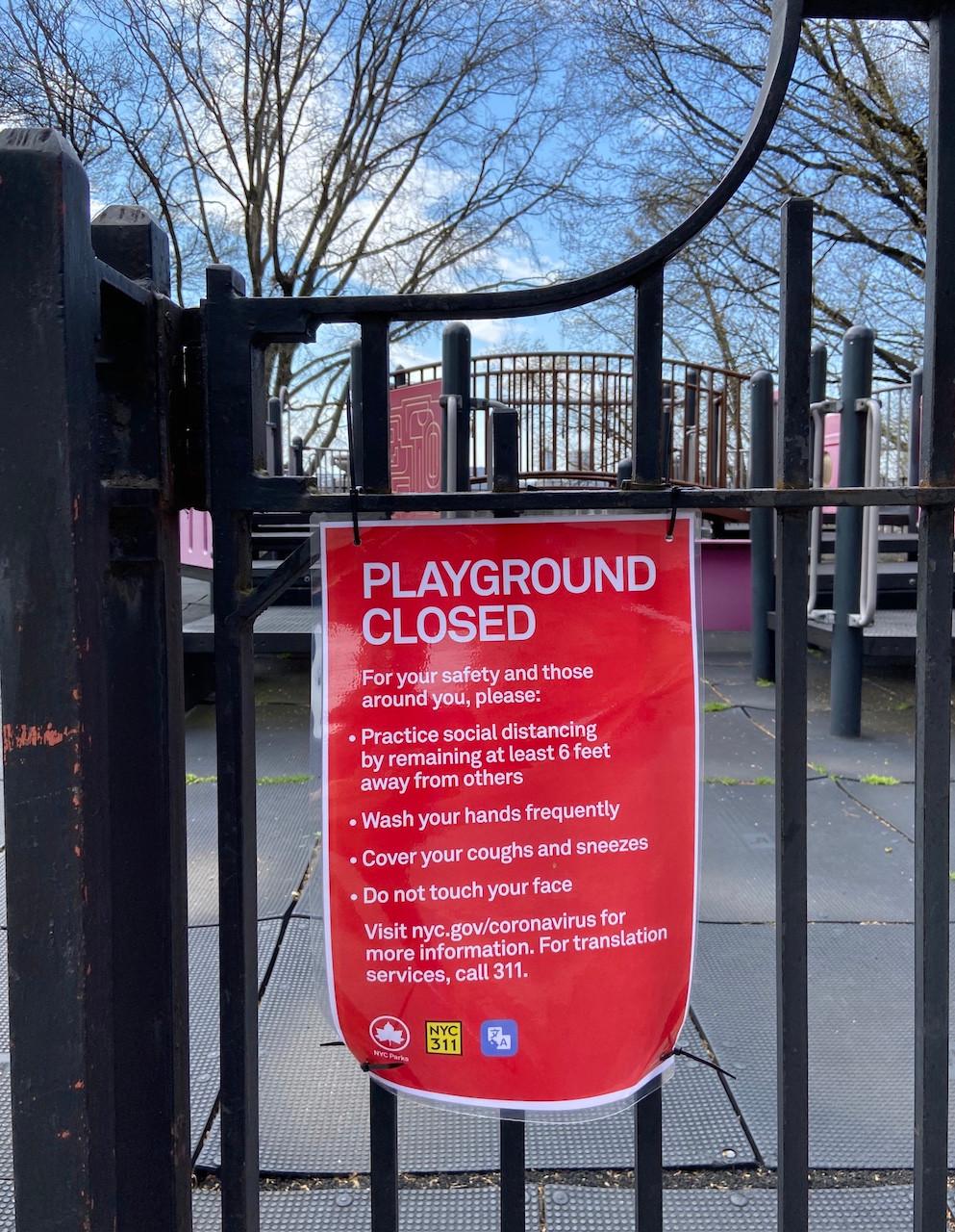 Closed New York playgrounds during the coronavirus pandemic