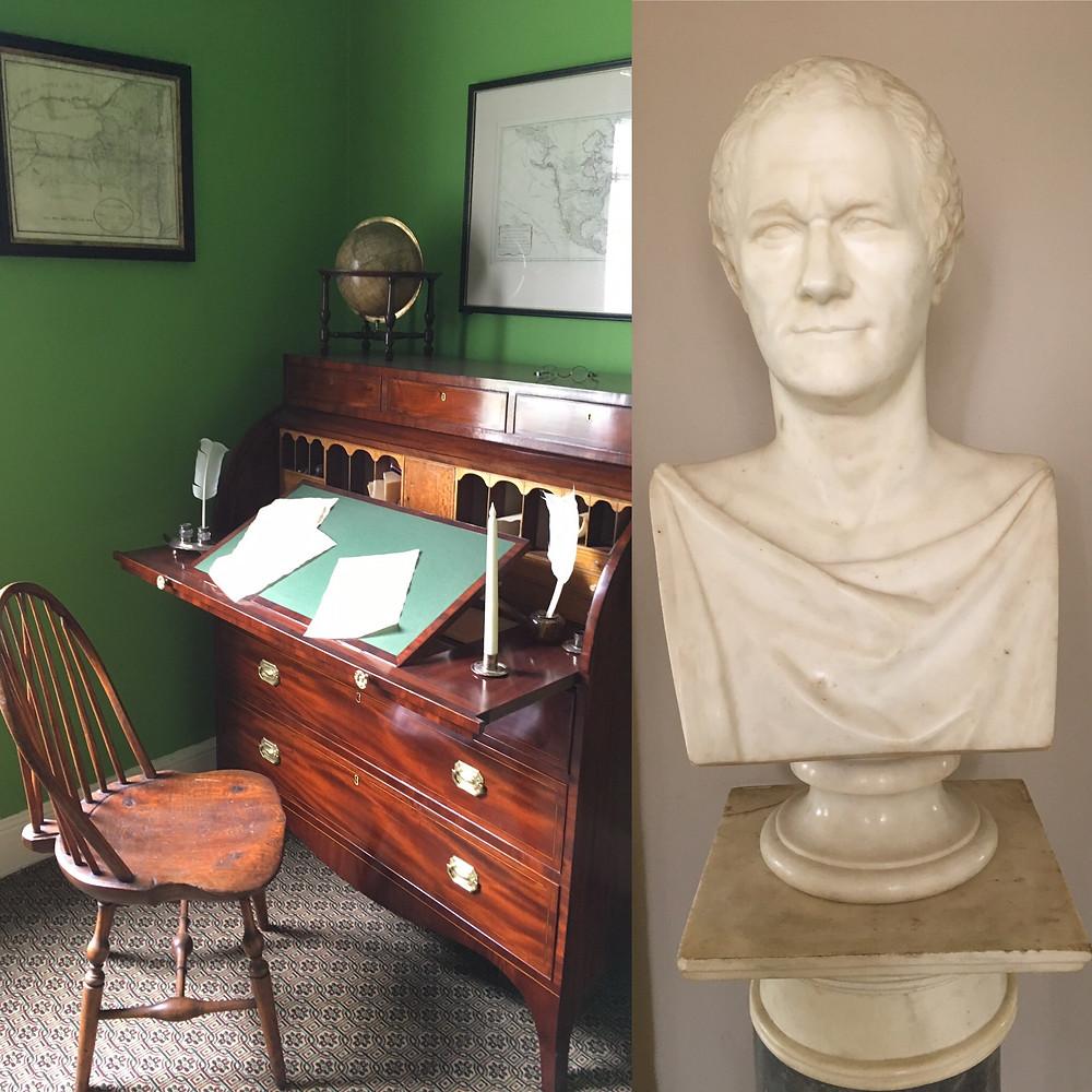 Alexander Hamilton desk and bust
