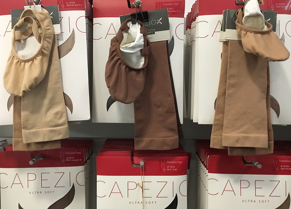At dancewear boutique KD New York, Ballet slippers from Capezio, in a true range of skin tones, round out the shop's offerings