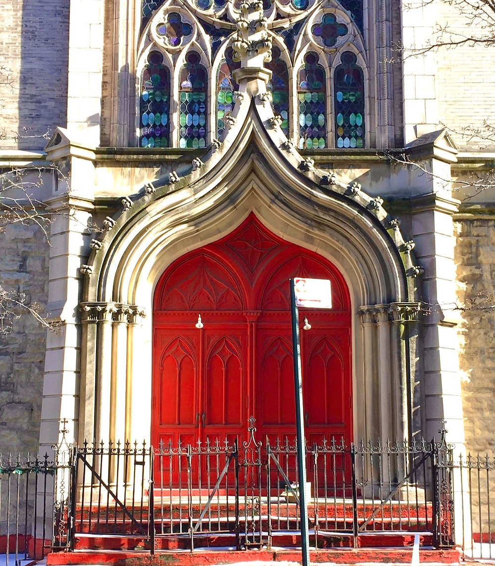 The Gothic Revival doors of Mt. Calvary Church in the proposed Dorrance Brooks Historic District.
