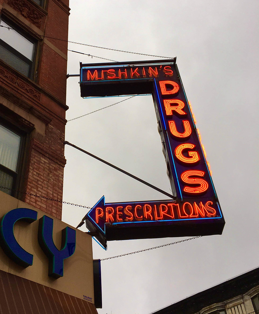 The neon Mishkin's Drugs sign dates from the 1950s