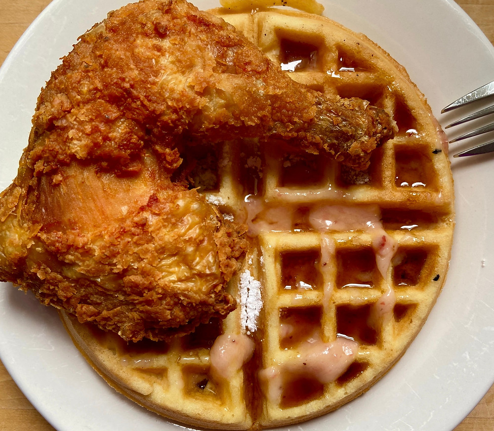 Enjoy Melba's chicken and waffles at home