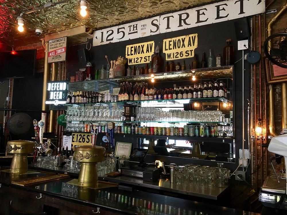 The ephemera-filled bar at Harlem Ale House