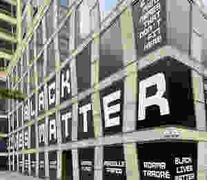 Black Lives Matter window installation at The Africa Center