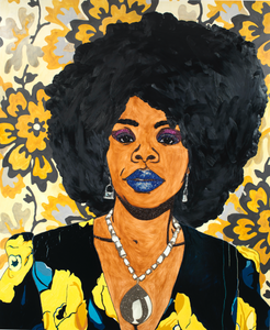 Mickalene Thomas, Din, une très belle négresse #1 (Din, a very beautiful black woman #1), on view at the Wallach Art Gallery