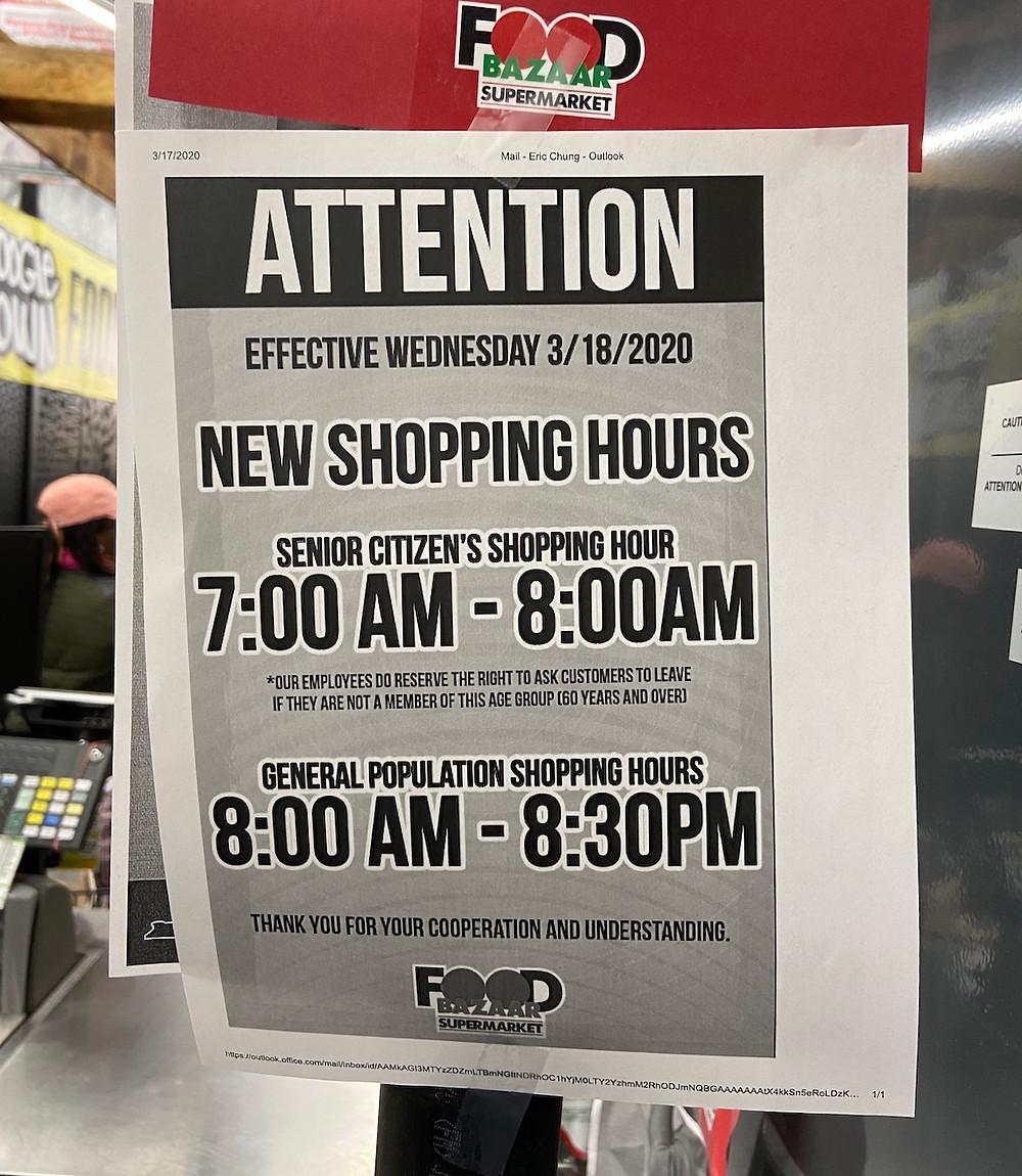 New shopping hours for senior citizens during the coronavirus pandemic