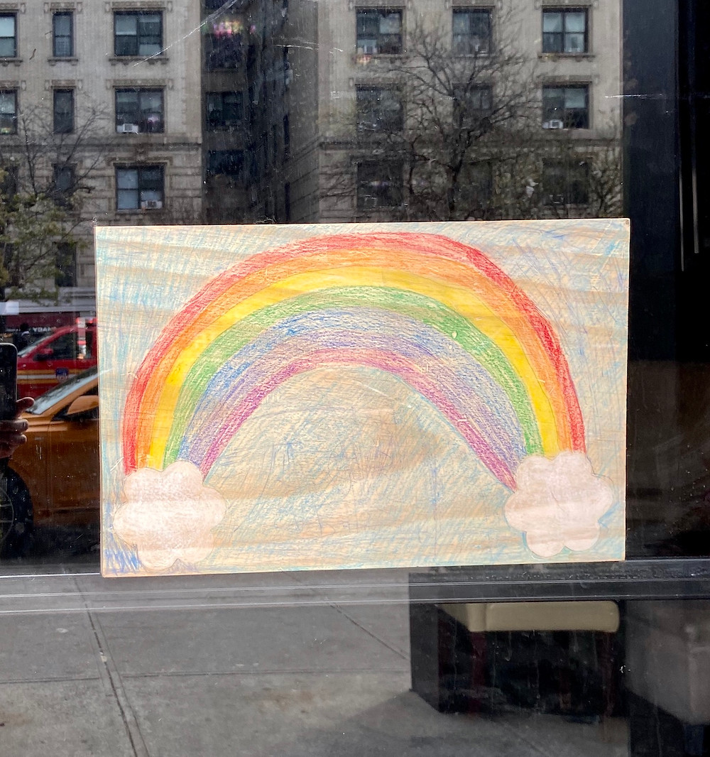 A rainbow drawing in Harlem during the coronavirus pandemic