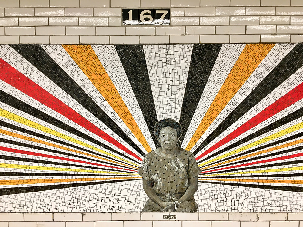 Rico Gatson's mosaic portrait of Maya Angelou in the 167 St subway station in the Bronx