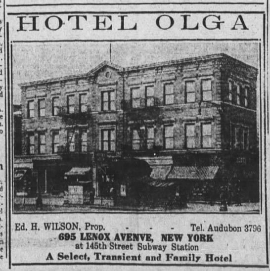 An ad for the Hotel Olga in The New York Age, 1923