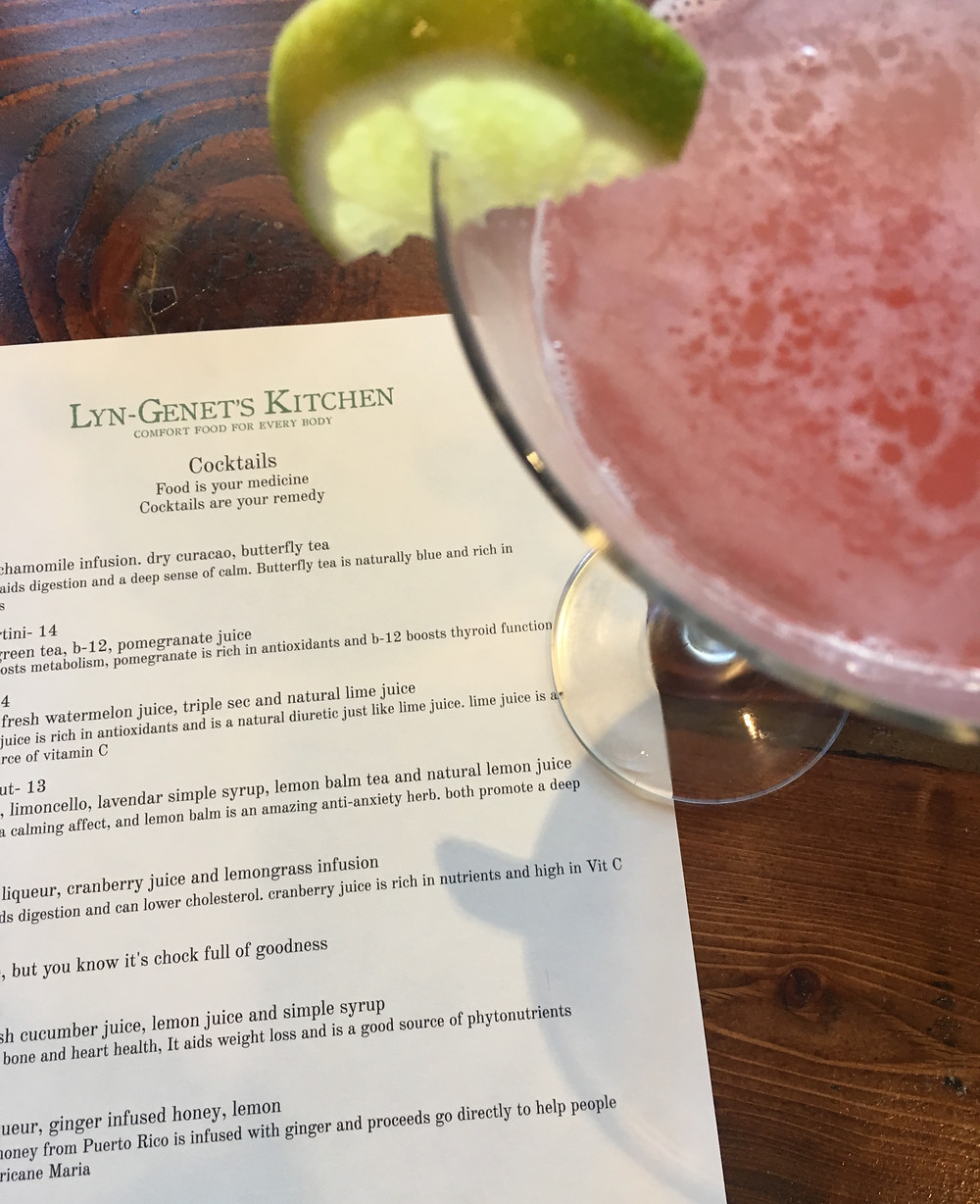 The watermelon cocktail at Lyn-Genet's Kitchen in Hamilton Heights