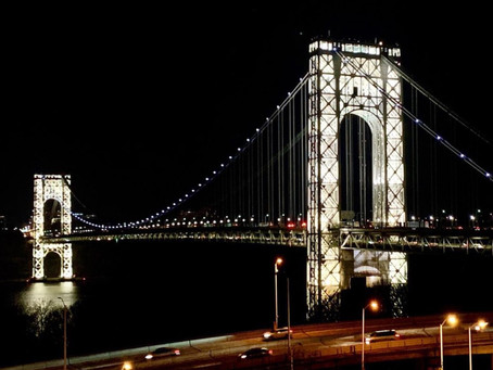 The George Washington Bridge tower lights are on for only a few days a year, including Labor Day
