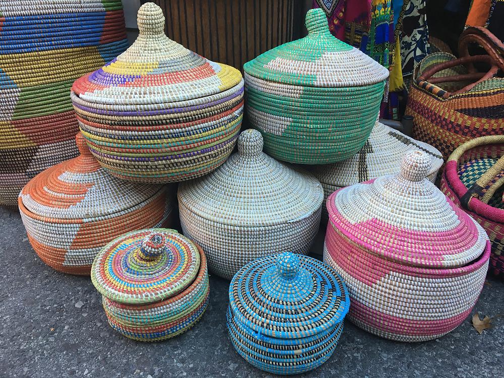 African baskets at Malcolm Shabazz Harlem Market