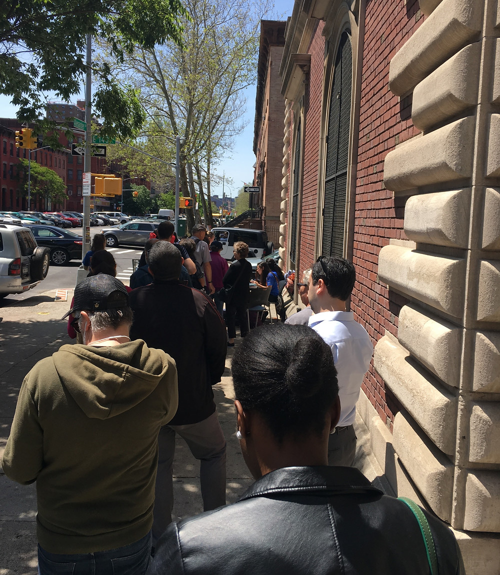 A recent line for free Shakespeare in the Park tickets at a voucher distribution point at the Mott Haven Library in the Bronx