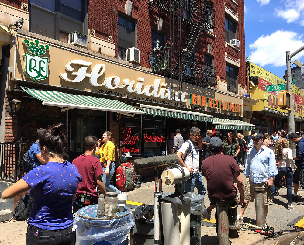 The crew of 'In the Heights' outside Floridita restaurant in Inwood