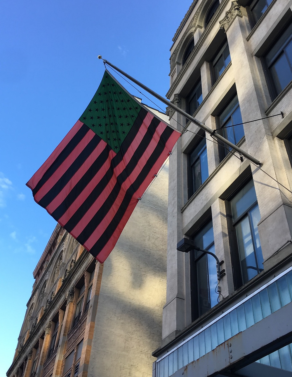 """African-American Flag"" in front of The Studio Museum of Harlem"