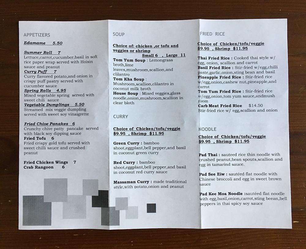 The menu at Sita Thai in Hamilton Heights