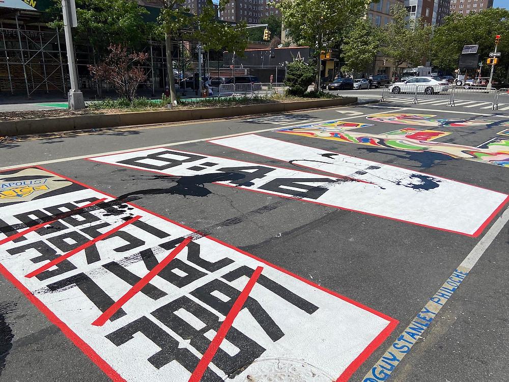 Vandals splattered paint over Harlem's Black Lives Matter mural this weekend