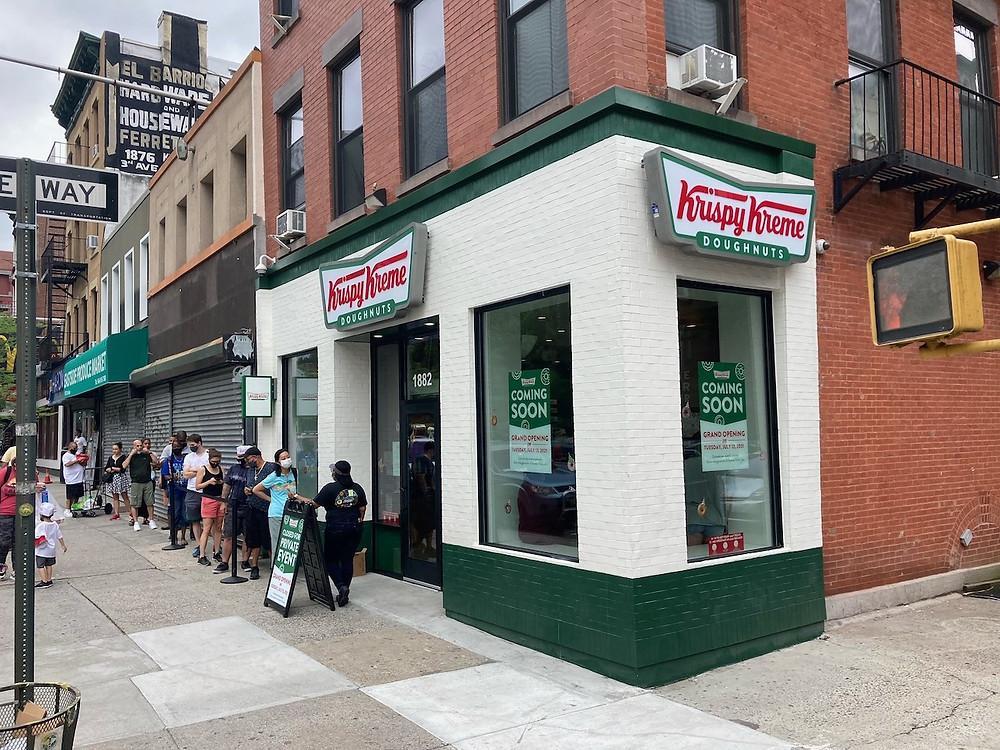 Krispy Kreme's new donut shop at 1882 Third Avenue in East Harlem