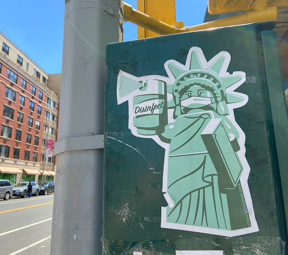 """Liberty & Disinfectant"" street art by RAD"