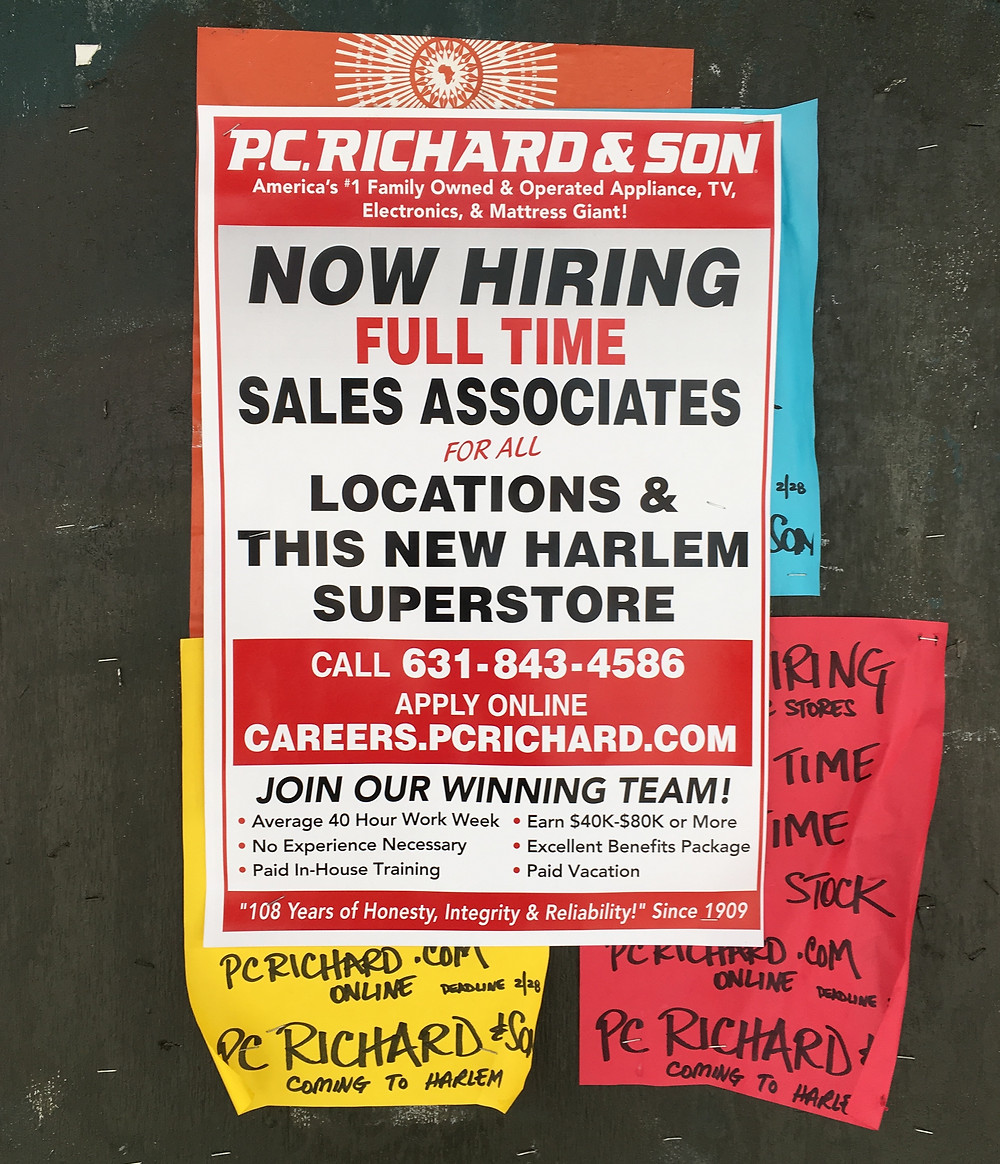 Signs for the new P.C. Richard & Son on 125th Street in Harlem