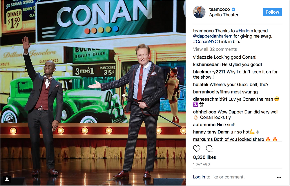 Conan and Dapper Dan at the Apollo Theater