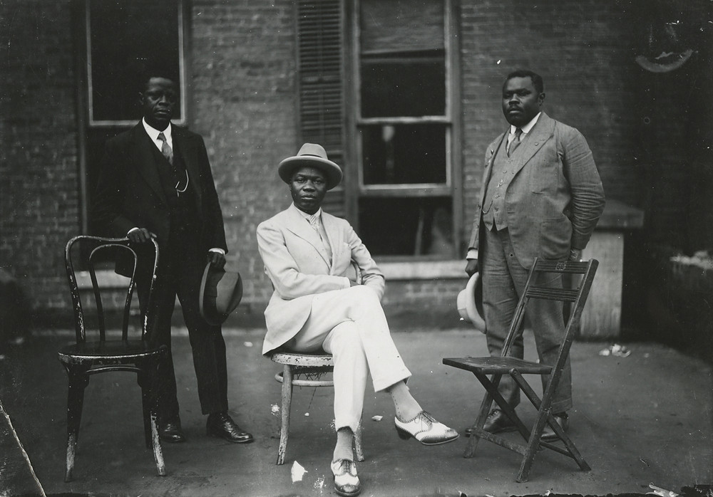 James Van Der Zee, Marcus Garvey with George O. Marke and Prince Kojo Tovalou-Houenou, 1924